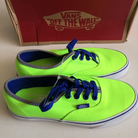 233f2b61c1b2f9 NWT Vans Authentic Brite Neon Green Blue Canvas
